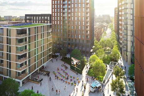 A visualisation of the plans for 1,300 homes on Malt Street in Southwark. Image: Berkeley