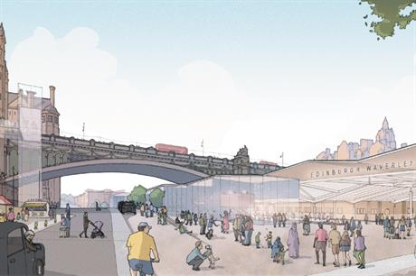 A view of the proposed station redevelopment looking towards George IV Bridge - image: Network Rail