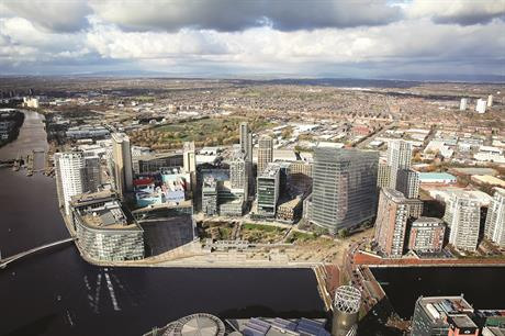 A visualisation of phase two of the MediaCityUK scheme, Salford