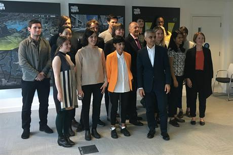 London mayor Sadiq Khan (front, centre) with the first 17 Public Practice associates in Croydon this morning