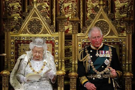 The Queen at the state opening of Parliament this morning. Pic: Getty Images