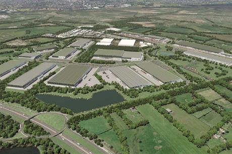 A CGI of plans for the Strategic Rail Freight Interchange in South Staffordshire. Image: Four Ashes