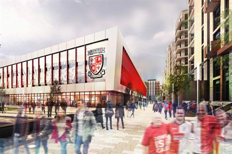 A CGI of plans for Woking FC's stadium redevelopment. Image: Woking FC