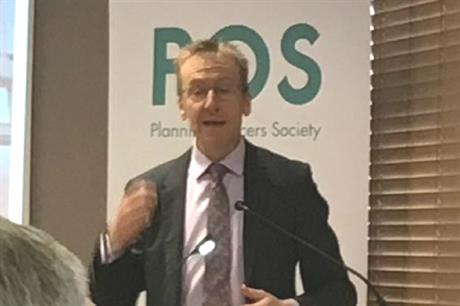 MHCLG director of planning Simon Gallagher speaking at the POS annual conference yesterday