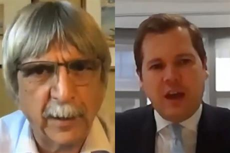 Former chief planner Steve Quartermain (left) questioned housing secretary Robert Jenrick online - image: Cratus Communications / YouTube