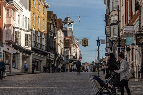 Guildford town centre. Pubs and restaurants can offer takeaways under new PD rights. Image: Flickr / Graham Dash