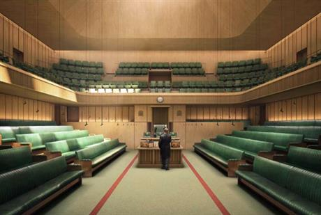 Visualisation of the proposed temporary Commons chamber. Image by House of Commons