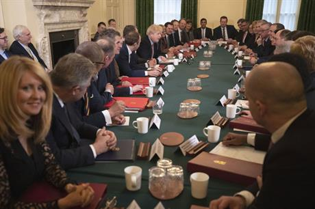 The new Cabinet meeting yesterday for the first time (pic: Getty)
