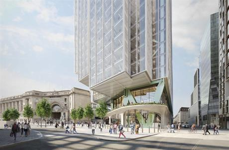 A visualisation of the Waterloo tower given the go-ahead for the Elizabeth House site. Image by HB Reavis