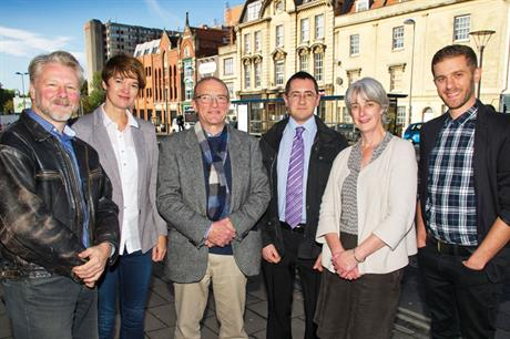 Engaging team (from left): Community association chair Paul Bradburn; the Neighbourhood Planning Network's Claire Wilks; Esha architects' Willie Harbinson; Bristol City Council's Mike Wilberforce and Sarah O'Driscoll; resident Peter Badger