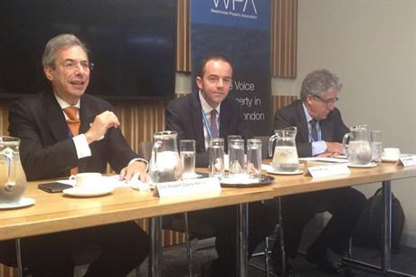 James Murray (centre) speaking at the event earlier today