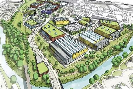 Artists impression of office-led development next to Meadowhall shopping centre