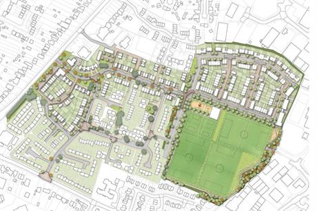 A masterplan visualisation of the finished development