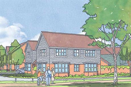 A visualisation of the finished New Monks Farm development in Lancing