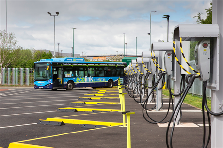 Charging points for the Ecolink zero emissions buses in the bus depot in Nottingham (Pic: Getty)
