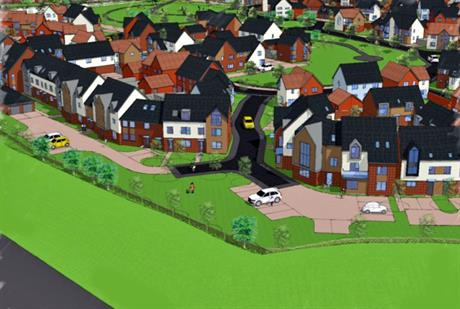 A visualisation of the 322-home development north of Norwich. Image by TimChris Farms, R & JM Place and Norfolk Homes