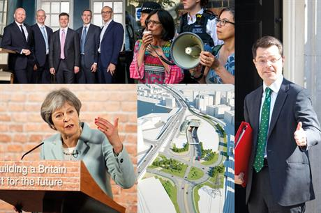 Clockwise from top left: GVA acquires HOW Planning; protests against the Elephant and Castle shopping centre scheme; newly-appointed housing secretary James Brokenshire; visualisation of the Silvertown tunnel entrance; the Prime Minister launches the