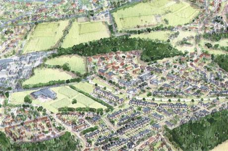 A masterplan image of the proposed Sandleford Park scheme