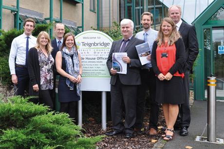 Self-build policy ground-breakers: Teignbridge Council planning team members Fergus Pate, Kati Owen, Trevor Shaw, Michelle Luscombe, Simon Thornley, Alex Lessware, Helen Williams and Charles Acland