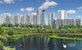 A CGI showing proposals for the landscaped areas surrounding the Olympic Village.
