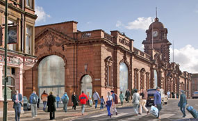 An artist's impression of the exterior view of Nottingham station