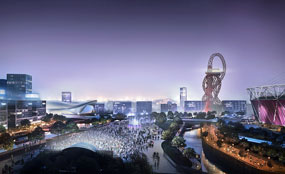 A CGI of the Olympic Park's south plaza