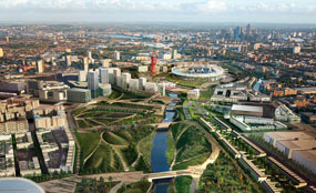 A CGI of what the Olympic Park will look like