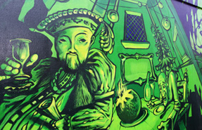 Henry VIII is depicted in a mural in Stanwell, near Heathrow Airport. Rob Clayton photo