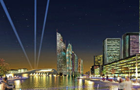 An artist's impression of the Wirral Waters regeneration project as viewed from Tower Road