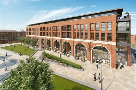 The Exchange has restaurants looking onto a new public square, with apartments at upper levels