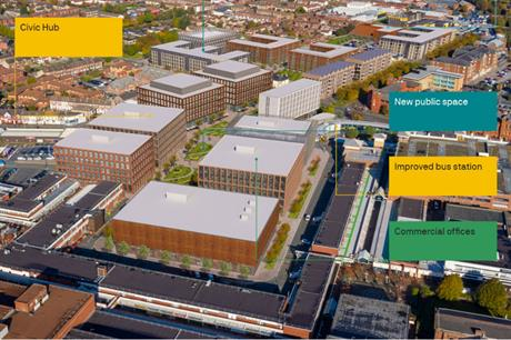 Initial plans for Birkenhead's regeneration include civic offices and an improved bus station (PIC Wirral Growth Company)
