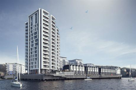 Broadway Malyan's design for the pier homes and tower at Ingress Park