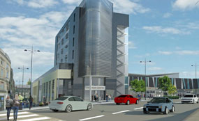 A CGI of plans for Newport's Cambrian Centre