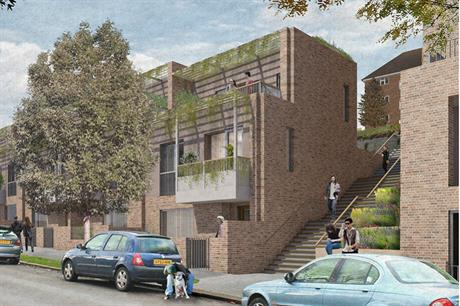Brick by Brick's first schemes include this 34 home proposal, designed by Mae Architects
