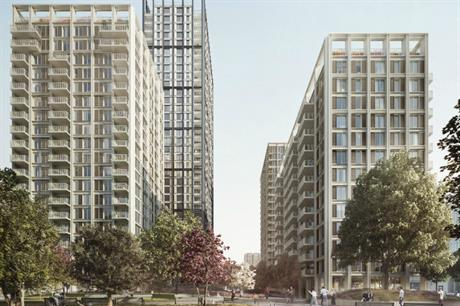 The design for the Croydon scheme has apartment buildings ranging from 13 to 35 storeys