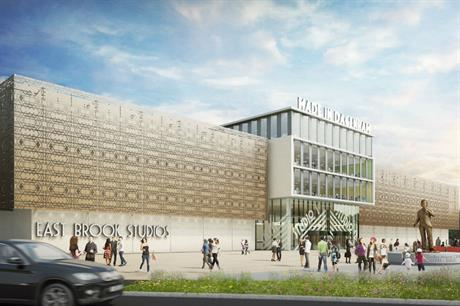A vision of Dagenham East's planned film studios and media complex, for which partners are sought