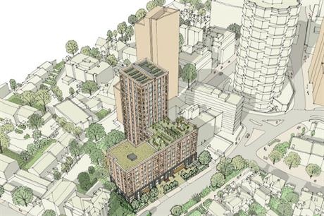 The proposed Croydon scheme has an eight storey mansion block fronting the road, with a set-back 18 storey tower (PIC GSA)