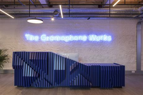 The reception area with its timber desk and neon sign sets the style for The Gramophone Works (ALL PICS Dirk Lindner)