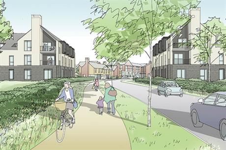 The masterplan for the Daventry development includes green and landscaped spaces (PIC JTP)