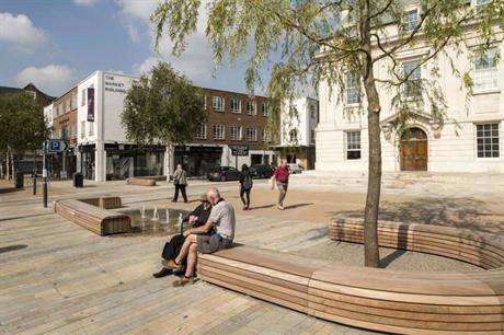 The new market place at Brentford high street [ © Grant Smith]