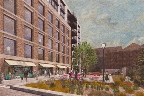 The proposal for Landmark Court features brick-faced buildings, lanes and open space (PIC Allies and Morrison)