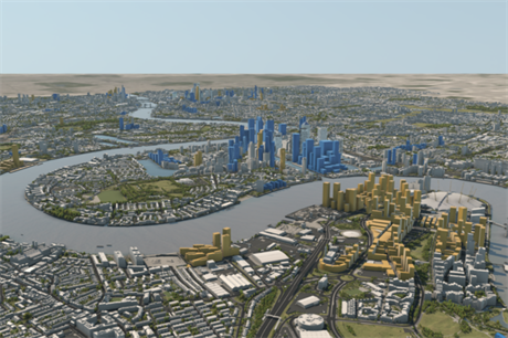 The tall buildings pipeline, as modelled by Vu.City, with blue buildings being under construction and yellow being consented (PIC NLA/Vu.City)