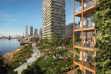 Morden Wharf will have 12 residential buildings, some featuring green facades (PIC Pixelflakes)