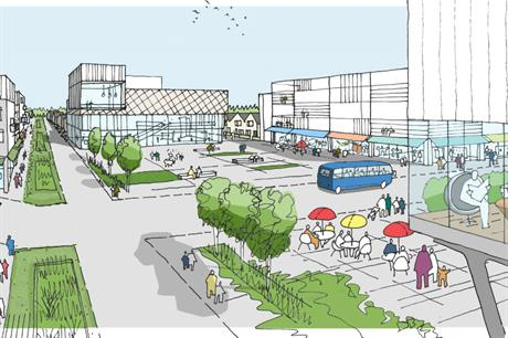 A preliminary sketch showing central Northstowe, one of ten planned healthy new towns (PIC Homes and Communities Agency)