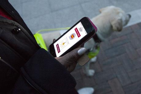 A guide dog user requests audio information and brighter street lighting be provided by the Responsive Street Furniture system