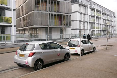 Car club cars were provided early at the New River development in north London