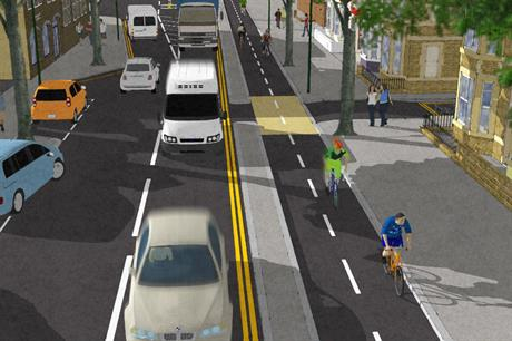 An artist impression of a section of the cycle route