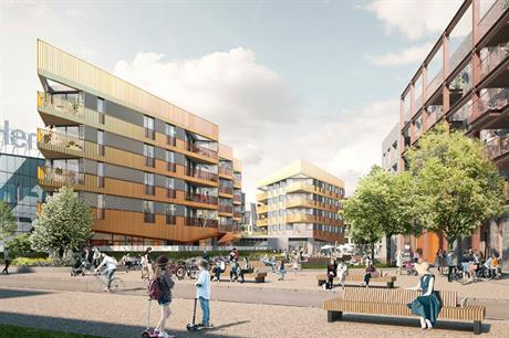 The first homes at East Wick and Sweetwater will be accompanied by a neighbourhood centre (PIC Studio Egret West)