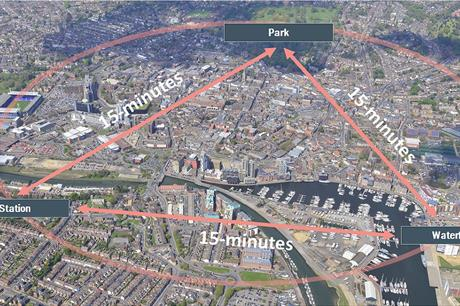 The 15-minute neighbourhood strategy for Ipswich town centre involves breaking down barriers between waterfront and town centre (PIC Ipswich Central)