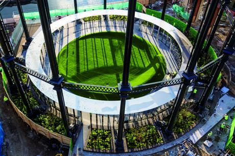 An aerial view of the Gasholder Park in King's Cross